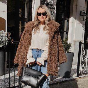 Zara Teddy Coat - Long Faux Fur Brown Jacket